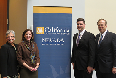 From left to right: Diana Dykstra, President and CEO of the California and Nevada Credit Union Leagues; Dr. Lara Brown, Interim Director of the George Washington University Graduate School of Political Management; Dan Hemp, awardee of the Kelly J. Purcell Credit Union Memorial Fund Scholarship and political management major at the school; and Bill Cheney, CEO of SchoolsFirst FCU