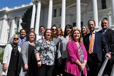 Credit union advocates from across California stand in front of the state capitol building this week on the first day of the California Credit Union League's 2017 Government Relations Rally.