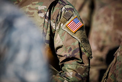 Image of military service member's clothing.