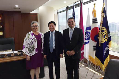 Left to right: Diana Dykstra, President and CEO of the California and Nevada Credit Union Leagues; Cheol-Sang Moon, Chairman and President of the National Credit Union Federation of Korea (NACUFOK); and Victor Corro, Vice President of Member Services for the World Council of Credit Unions