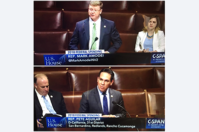 Top to bottom: Rep. Mark Amodei (R-NV, Reno) and Pete Aguilar (D-CA, Redlands)