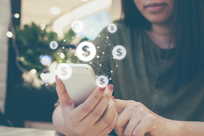 Image of woman accessing banking on smart phone