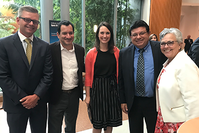 L-R: David Tuyo, CEO of University CU; California Assembly Speaker Anthony Rendon (D-Los Angeles); Courtney Jensen, VP of State Government Affairs for the California and Nevada Credit Union Leagues; Nader Moghaddam, CEO of Financial Partners CU; and Diana Dykstra, President and CEO of the Leagues