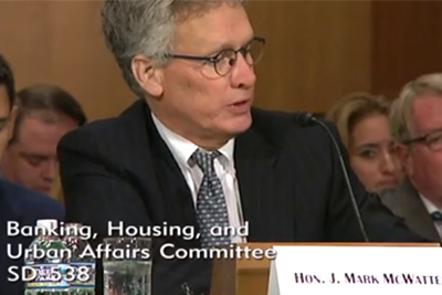 """J. """"Mark"""" McWatters, chairman of the National Credit Union Administration (NCUA), testifies before the Senate Banking Committee last week."""