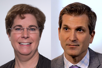 L-R: Amy Crews Cutts, senior vice president and chief economist for Equifax; and Cristian deRitis, senior director of Moody's Analytics