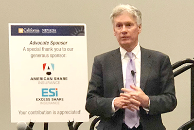 National Credit Union Administration (NCUA) Board Chairman Mark McWatters discusses credit union issues during the California and Nevada Credit Union Leagues' regulatory meeting at the 2019 Governmental Affairs Conference (GAC).