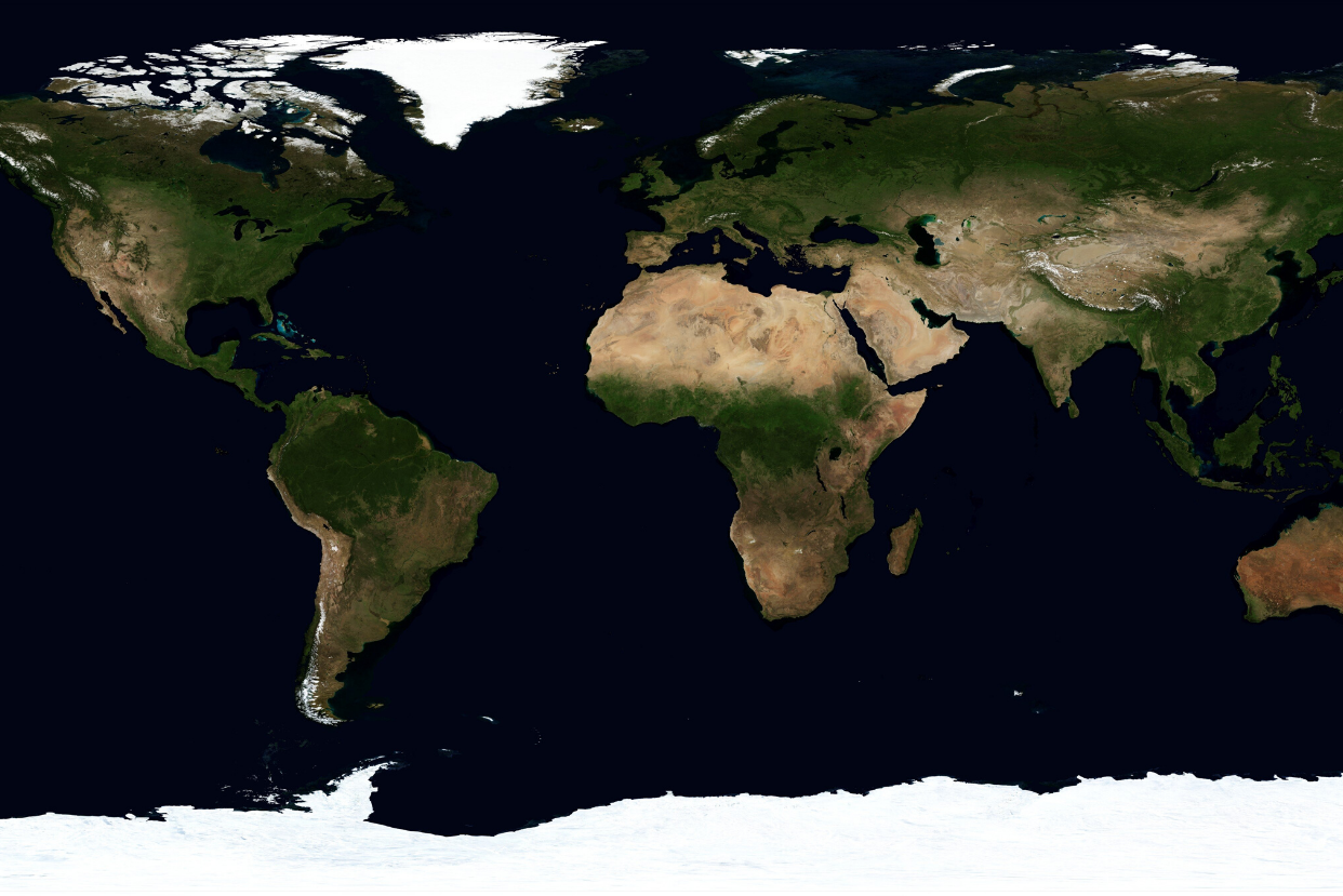 All world continents on a map