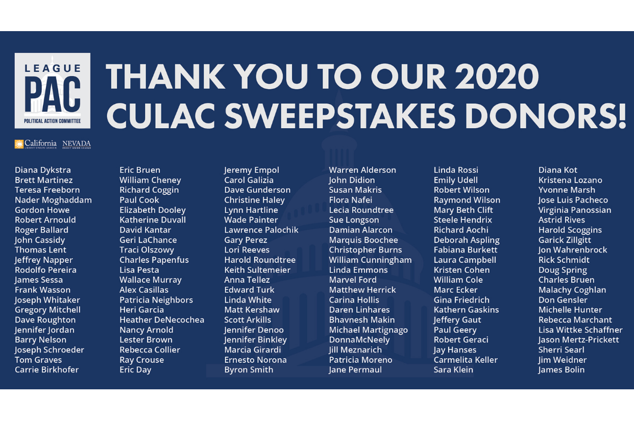 The Leagues would like to thank our 2020 CULAC Sweepstakes donors!