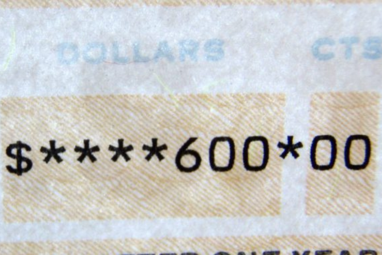 Printed digits on check