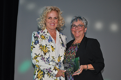 L-R: Xceed Financial FCU CEO Teresa Freeborn (left)—who was recognized with the Leo H. Shapiro Lifetime Achievement Award—with California and Nevada Credit Union Leagues President and CEO Diana Dykstra